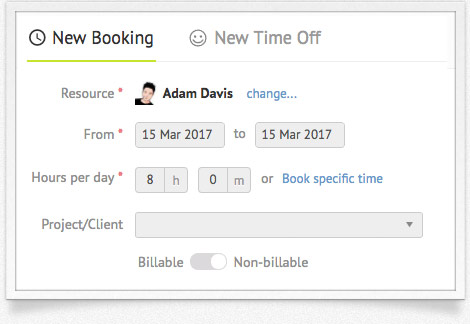Resource booking form